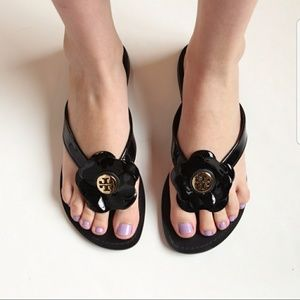 Tory Burch Breely Black Sandals with Flower